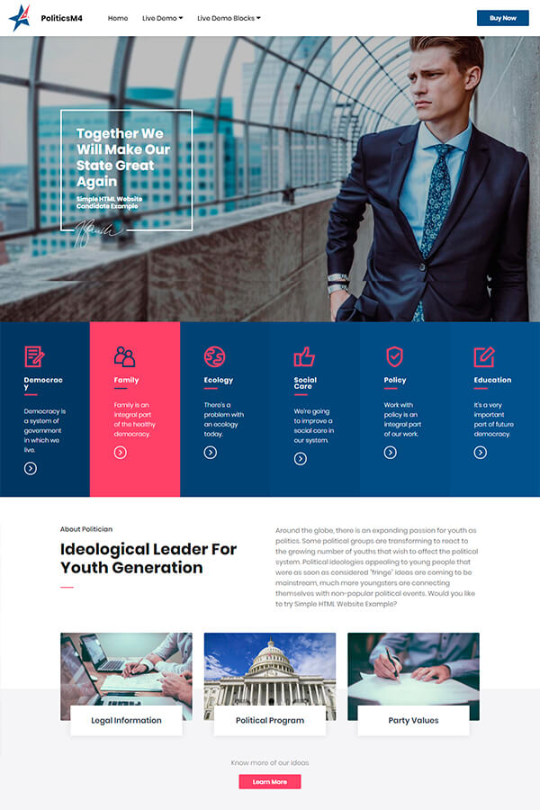 HTML Candidate Website Template